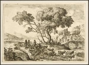 Claude Lorrain, Le Départ pour les champs [Departure for the Fields], circa 1638-41 (etching on laid paper, state 3C, 12.6 cm x 17.8 cm)