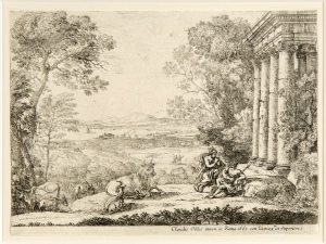 Claude Lorrain, Mercure et Argus [Mercury and Argus], 1662 (etching on laid paper, state 3, 14.9 cm x 21.6 cm) (Published by G. Schulze, London, 1816)  Gift of Andrew and Helen Brink in memory of R. Alexander Brink and Edith Margaret Whitelaw Brink, 2012  University of Guelph Collection at the Macdonald Stewart Art Centre