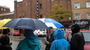 David. J. Knight leads walking tour of history of cinema in Guelph, Ontario