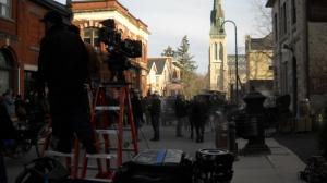 Filming Murdoch Mysteries on Douglas Street in Guelph, Ontario